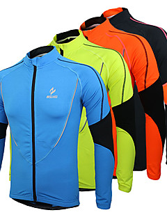 Arsuxeo Men s Cycling Jersey Cycling Jacket Bike Jersey Top Thermal   Warm  Fleece Lining Breathable Sports Patchwork Polyester Fleece Winter Orange    Green ... 00b6887a8
