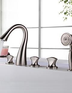 billige Foss-Moderne Badekar Og Dusj Foss Hånddusj Inkludert Keramisk Ventil Fire Huller To Håndtak fem hull Nikkel Børstet, Badekarskran