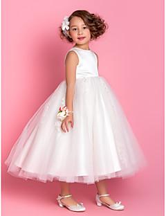 tanie Wytworna kolekcja-Krój A Księżniczka Lekko nad kolana Sukienka dla dziewczynki z kwiatami - Satyna Tiul Bez rękawów Zaokrąglony z Koraliki Haft nakładany