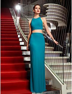 billiga Aftonklänningar-Åtsmitande Tvådelad Halterneck Golvlång Jersey Bal / Formell kväll / Formell fest Klänning med Plisserat av TS Couture®