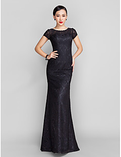 cheap -Mermaid / Trumpet Illusion Neckline Sweep / Brush Train Lace Prom / Black Tie Gala Dress with Beading by TS Couture®