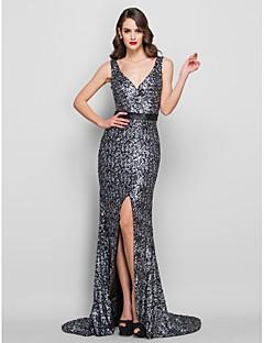 billige Paljettkjoler-Havfrue / trompet v-hals feie / børste tog charmeuse kjole av ts couture®