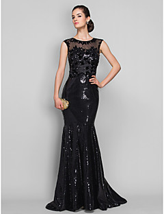 cheap Special Occasion Dresses-Mermaid / Trumpet Illusion Neck Sweep / Brush Train Tulle / Sequined Formal Evening / Black Tie Gala Dress with Sequin / Appliques by TS