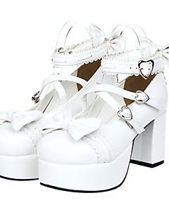 billiga Lolitamode-Skor Söt Lolita Platå Skor Rosett 8 cm CM Till PU-läder / Polyuretan Läder Halloweenkostymer