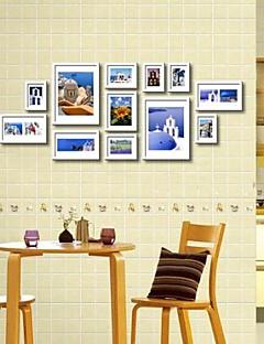 12の白い写真入り壁掛けフレームコレクションセット