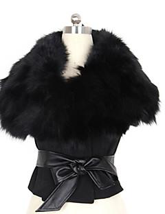 kvinners pels krage kort frakk med belte