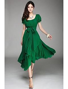 dámské pevné midi šaty s pásem, u krku krátký rukáv