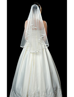 Wedding Veil One-tier Fingertip Veils Ribbon Edge 53.15 in (135cm) Tulle White IvoryA-line, Ball Gown, Princess, Sheath/ Column, Trumpet/
