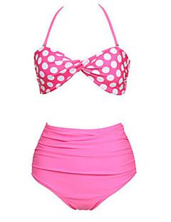 halpa -Naisten Vintage Style Pink Polka Bikini
