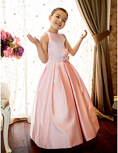 A-Line Princess Floor Length Flower Girl Dress - Satin Sleeveless Jewel Neck with Flower by LAN TING BRIDE®