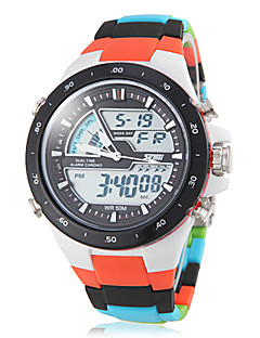 SKMEI Herren Sportuhr Quartz Japanischer Quartz LCD Kalender Chronograph Wasserdicht Duale Zeitzonen Alarm Plastic Band Mehrfarbig