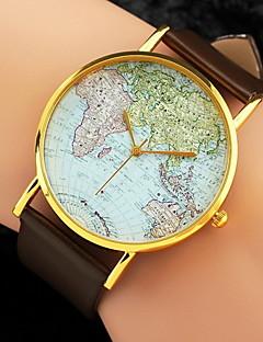 아가씨들 패션 시계 손목 시계 석영 세계지도 패턴 PU 밴드 블랙 화이트 브라운