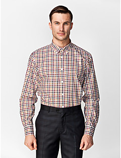 cheap Shirts-Classic / Semi-Spread Neck Long Sleeves Black&Brown&Red&White 100% Cotton Gingham Shirt for Suits