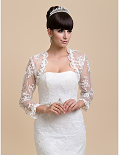 cheap Wedding Wraps-Long Sleeves Lace Wedding Party Evening Casual Wedding  Wraps Coats / Jackets