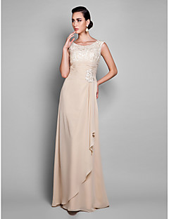 cheap -Sheath / Column Jewel Neck Floor Length Chiffon Cocktail Party / Prom / Formal Evening / Holiday / Military Ball Dress with Lace Ruched