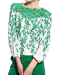 Chemisier Femme,Fleur Décontracté / Quotidien simple Toutes les Saisons Manches Longues Vert Polyester Fin