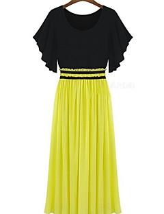 billige Outlets-JINYI Chiffon Strik kortærmet Pleat Dress