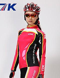 billige Sykkelklær-Mysenlan Dame Langermet Sykkeljersey med tights - Rød Sykkel Klessett, Hold Varm, Fort Tørring, Ultraviolet Motstandsdyktig, Pustende,