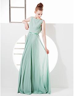 billige Grønn glamour-Tube / kolonne Bateau Neck Gulvlang Georgette Brudepikekjole med Sløyfe(r) / Belte / bånd av LAN TING BRIDE® / Vakker rygg