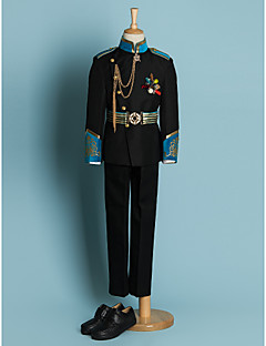 cheap Ring Bearer Suits-Black Polyester Ring Bearer Suit - Four-piece Suit Includes  Jacket Waist cummerbund Shirt Pants