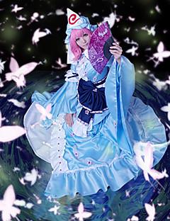 "billige Videospill cosplay-Inspirert av Touhou Projekt Yuyuko Saigyouji video Spill  ""Cosplay-kostymer"" Cosplay Klær Lapper Kjole Hatt"