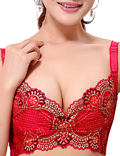 ShenAiMiLi Fashion Lace Cut Out Solid Color Strap Thin V Neck Silm Adjutable Lingerie Bra_Red