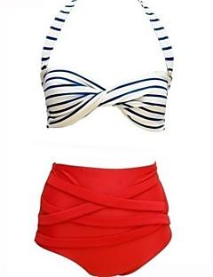 Women's High Waist Striped Red/White Bikini Set,High Waist Sexy Halter