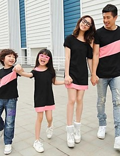cheap Family Clothing Sets-Patchwork Dress Tee, Polyester Summer Fall Short Sleeves Screen Color
