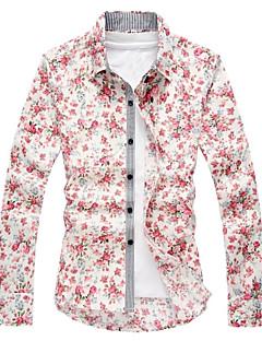 Europeu informal de impressão floral camisa de manga longa de ruilike®men