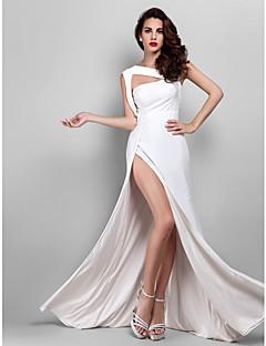 billiga Klänningar till speciella tillfällen-Åtsmitande remmar Golvlång Jersey Bal / Formell kväll Klänning med Delad framsida av TS Couture®
