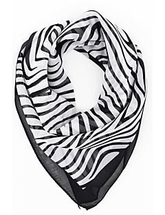 女性のカジュアルなゼブラプリントchiffion四角いバンダナスカーフ