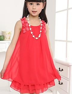tanie Odzież dla dziewczynek-Sukienka Dziewczyny Jendolity kolor Lato Bez rękawów Kwiatowy Różowy Fuksja