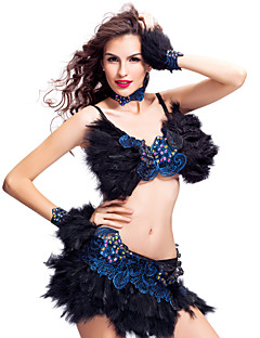 billige Karneval Kostumer-Sambasko Kjoler Dame Fjær Blonder / Krystall / Rhinestone / Oppvisning