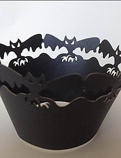 ハロウィーンバットカップケーキラッパー、レーザーカット、パーティーの好意の装飾60個