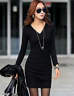 Women's Work Bodycon Dress,Solid V Neck Above Knee Long Sleeve Black / Gray Cotton Spring / Fall / Winter