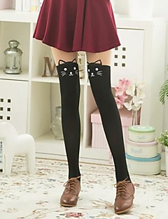 Women's Fashion Cute Stitching Knee Cats Head Pantyhose,Nylon