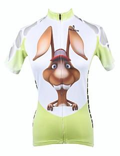 billige Sykkelklær-ILPALADINO Dame Kortermet Sykkeljersey Dyr Tegneserie Kanin Store størrelser Sykkel Jersey Topper, Pustende Fort Tørring Ultraviolet Motstandsdyktig 100% Polyester