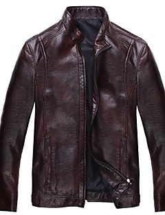 cheap Men's Furs & Leathers-Men's Classic & Timeless Leather Jacket-Solid Colored Solid Color,Pure Color