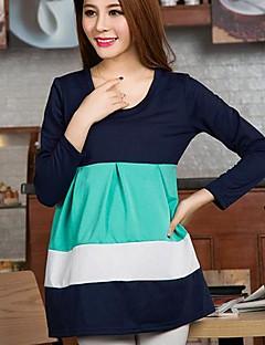 naisten muoti äitiys pyöreä kaulus kontrasti väri mekko (enemmän värejä)