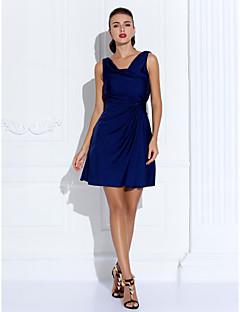 billige Kjoler i plusstørrelse-Tube / kolonne Hengende krage Kort / mini Jersey Cocktailfest / Ferie Kjole med av TS Couture®