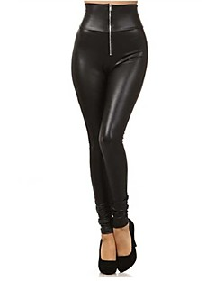Women's Front Zipper Imitation Leather LeggingsFashion collection and buttock PU leather pants
