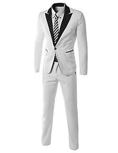 男性用 プレイン カジュアル / オフィス / フォーマル セット,長袖 コットン / コットン混 ホワイト
