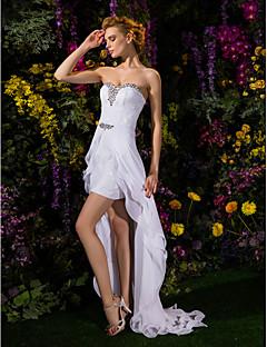 billige Den første dansen-Tube / kolonne Kjære Asymmetrisk Chiffon / Blonder Made-To-Measure Brudekjoler med Krystall / Belte / bånd av LAN TING BRIDE®