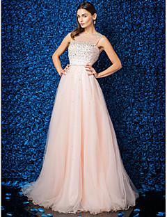 billige Paljettkjoler-A-linje Besmykket Gulvlang Tyll Skoleball Formelt galla Kjole med Perlearbeid av TS Couture®