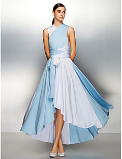 A-Line V-neck Asymmetrical Jersey Prom Formal Evening Dress with Pleats Criss Cross by TS Couture®