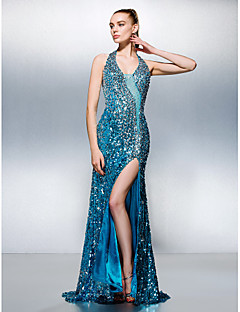 cheap Sequined Dresses-Sheath / Column Halter Court Train Sequined Prom Dress with Beading by TS Couture®