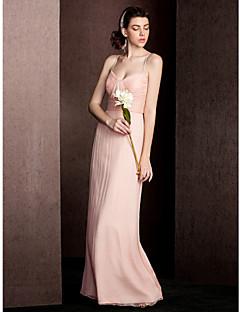 billige Romantisk rosa-Tube / kolonne Spagettistropper Gulvlang Silke Brudepikekjole med Drapering Bølgemønster av LAN TING BRIDE®