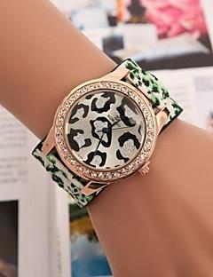 billige Leopard-ure-Dame Quartz Hot Salg Læder Bånd Vedhæng Rød Grøn Lilla Gul