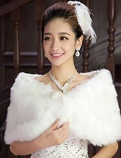 結婚式のラップ / ファーショール・ボレロ シュラッグ ノースリーブ コットン ホワイト 結婚式 / パーティー 羽毛 / 真珠 / 鱗柄 隠しクラスプ