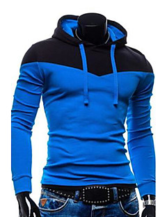 Men's Casual/Daily Simple Hoodie Color Block Patchwork Cotton Polyester Long Sleeve Fall